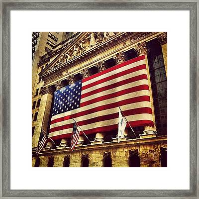 The Stock Exchange Gets Patriotic Framed Print