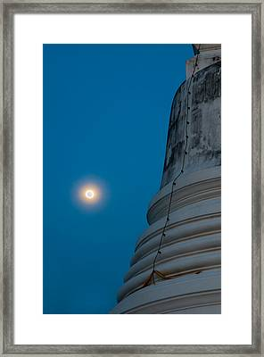 The Stupa In The Night During Full Moon Framed Print