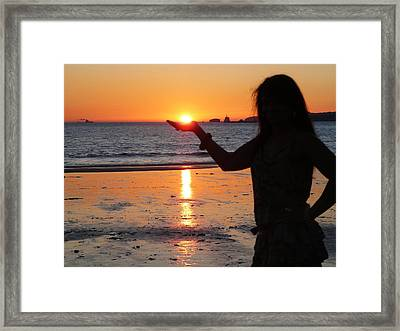 The Sun In My Hand Framed Print by Jenny Senra Pampin