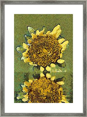 The Sunflower Reflection Framed Print by Odon Czintos