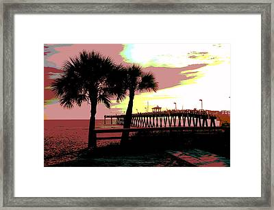 Framed Print featuring the mixed media The Sunset by Charles Shoup