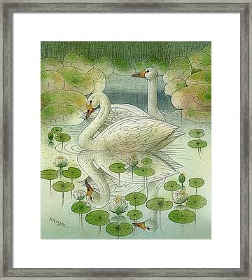 the Swans Framed Print by Kestutis Kasparavicius