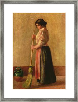 The Sweeper Framed Print by Pierre Auguste Renoir