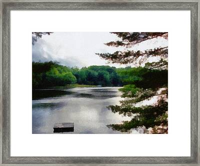 The Swimming Dock Framed Print by Michelle Calkins