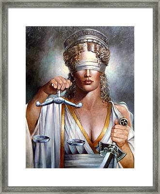 The Sword And Scales Of Justice Framed Print by Geraldine Arata