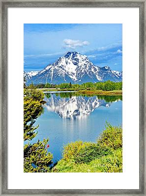 The Tetons From Oxbow Point Framed Print by Richard Brady