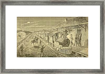 The Texas Express Train Being Robbed Framed Print by Everett
