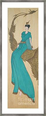The Thai Traditional Contemporary Drawing Fairy Tale On Wood Framed Print by Ittipon Kongsua
