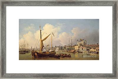 The Thames And The Tower Of London Supposedly On The King's Birthday Framed Print by Samuel Scott