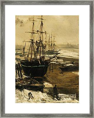 The Thames In Ice Framed Print by Pg Reproductions