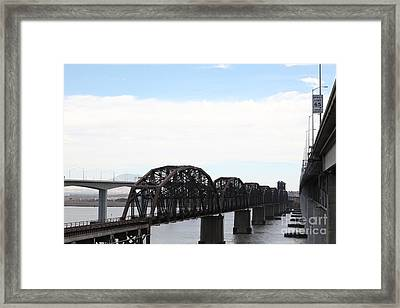 The Three Benicia-martinez Bridges - 5d18625 Framed Print by Wingsdomain Art and Photography