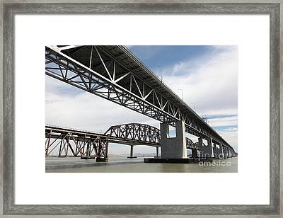 The Three Benicia-martinez Bridges In California - 5d18663 Framed Print by Wingsdomain Art and Photography