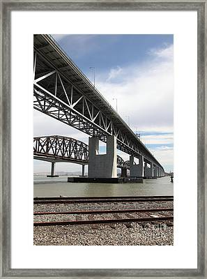 The Three Benicia-martinez Bridges In California - 5d18665 Framed Print by Wingsdomain Art and Photography