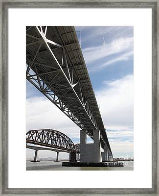 The Three Benicia-martinez Bridges In California - 5d18670 Framed Print by Wingsdomain Art and Photography