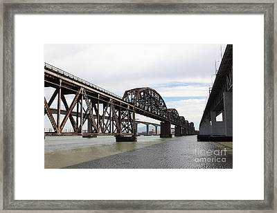 The Three Benicia-martinez Bridges In California - 5d18678 Framed Print by Wingsdomain Art and Photography