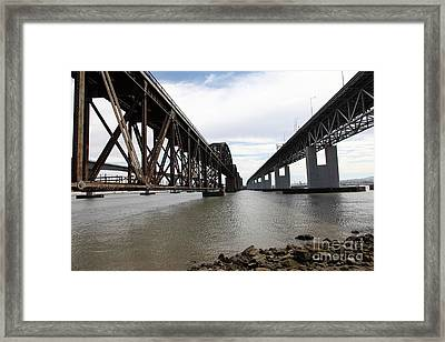 The Three Benicia-martinez Bridges In California - 5d18685 Framed Print by Wingsdomain Art and Photography