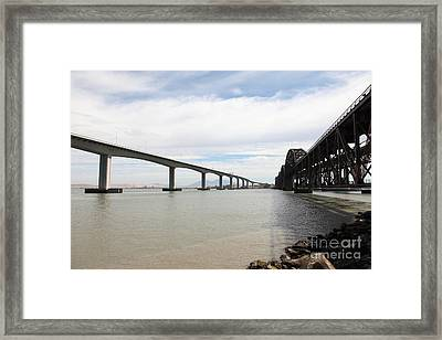 The Three Benicia-martinez Bridges In California - 5d18714 Framed Print by Wingsdomain Art and Photography
