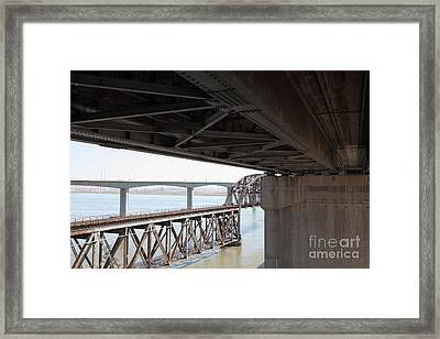 The Three Benicia-martinez Bridges In California - 5d18844 Framed Print by Wingsdomain Art and Photography