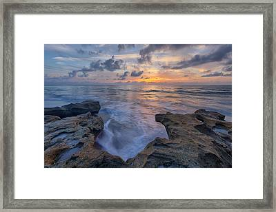 The Tide Rushes In Framed Print by Claudia Domenig