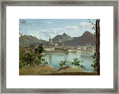 The Town And Lake Como Framed Print by Jean Baptiste Camille Corot