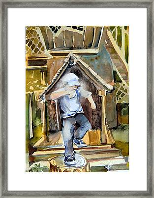 The Tree House Kid Framed Print by Mindy Newman