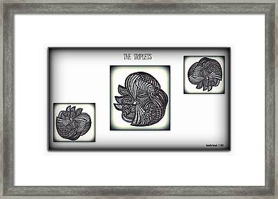 Framed Print featuring the drawing The Triplets by Danielle  Parent