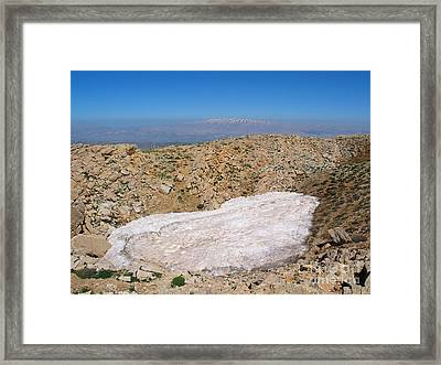 the un melted snow in Sannir mountains  Framed Print by Issam Hajjar
