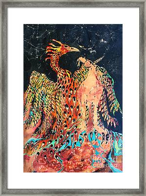 The Unicorn And Phoenix Rise From The Earth Framed Print by Carol Law Conklin