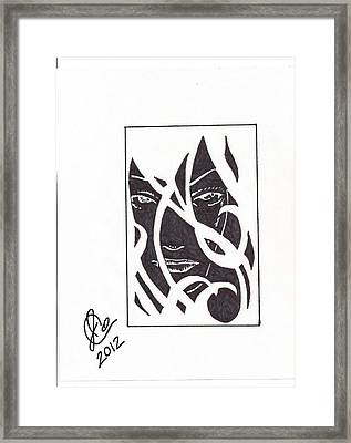 Framed Print featuring the drawing The Unkown Woman by Jeremiah Colley