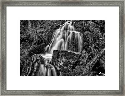 The Upper Butler Fork Falls Bw Framed Print by Mitch Johanson