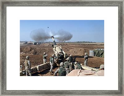 The U.s. Marine Corps M-198 155mm Framed Print by Stocktrek Images