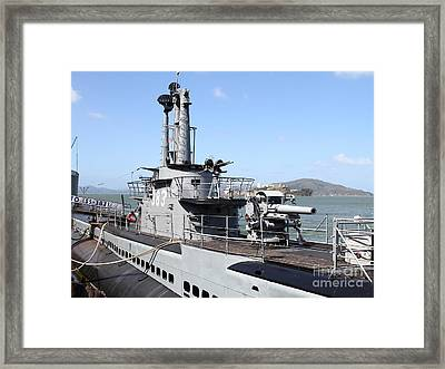The Uss Pampanito Submarine At Fishermans Wharf With Alcatraz In The Distance.san Francisco.7d14420 Framed Print by Wingsdomain Art and Photography