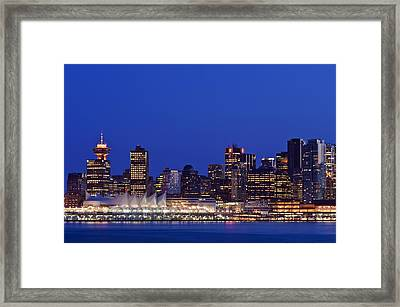 The Vancouver Skyline At Twilight Or Framed Print
