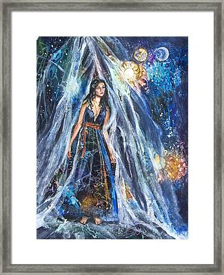 The Veil Is Parted The Three Fates II Framed Print by Patricia Allingham Carlson