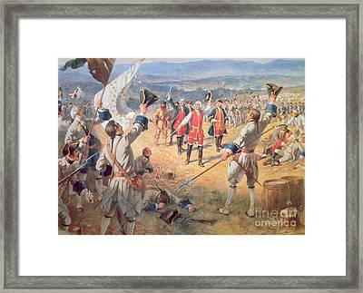The Victory Of Montcalms Troops At Carillon Framed Print