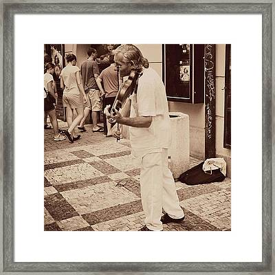 The Violin Player #man #praha #prague Framed Print