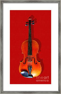 The Violin . Red Version . Painterly Framed Print by Wingsdomain Art and Photography