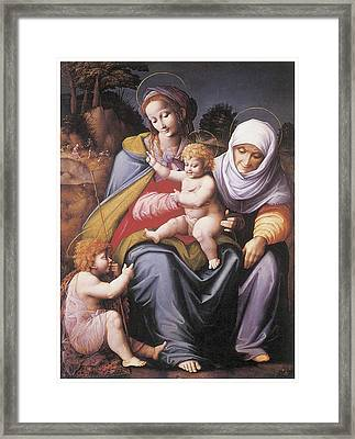 The Virgin And Child Framed Print by Bachiacca