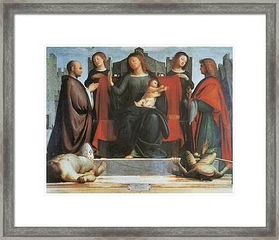 The Virgin And Child Enthroned Framed Print by Bramantino