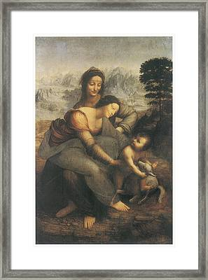 The Virgin And Child With Saint Anne Framed Print by Leonardo Da Vinci