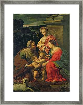 The Virgin And Child With Saints Framed Print by Simon Vouet