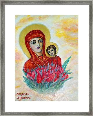 The Virgin And The Child Framed Print by Augusta Stylianou