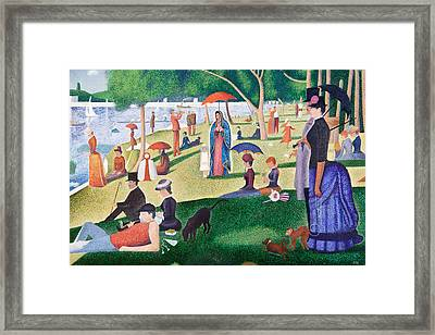 The Virgin Of Guadalupe Takes A Sunday Afternoon Walk Along Seurate's La Grande Jetta  Framed Print