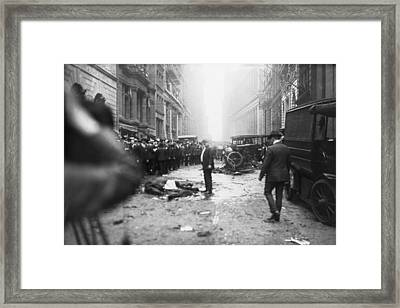 The Wall Street Bombing. A Man Stands Framed Print by Everett