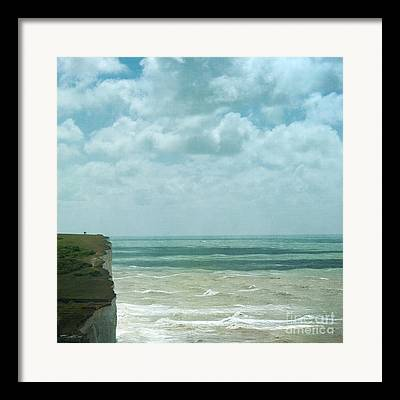 Waves Below Us Cliffs Channel Sea England South Coast Chalk Textures Framed Prints
