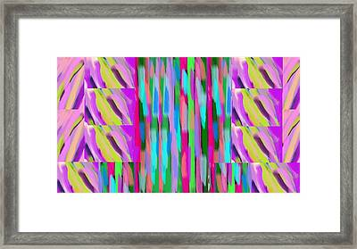 The Waves Violet Turquoise Pink Green Framed Print by Rosana Ortiz