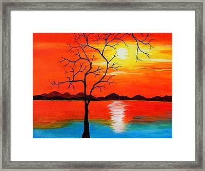 The White Sun Framed Print by Farah Faizal