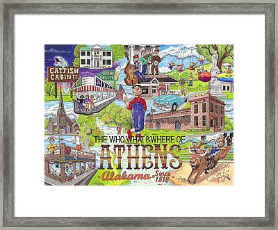 The Who What And Where Of Athens Alabama Framed Print