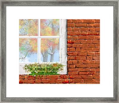 The Window Triptych Fall Framed Print by Jim Hubbard