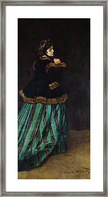The Woman In The Green Dress Framed Print